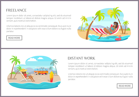 Freelance and distant work pages, websites with buttons and text sample freelance and distant work, women and laptops, isolated on vector illustration