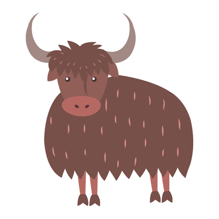 Cute Yak Cartoon Flat Vector Sticker or Icon