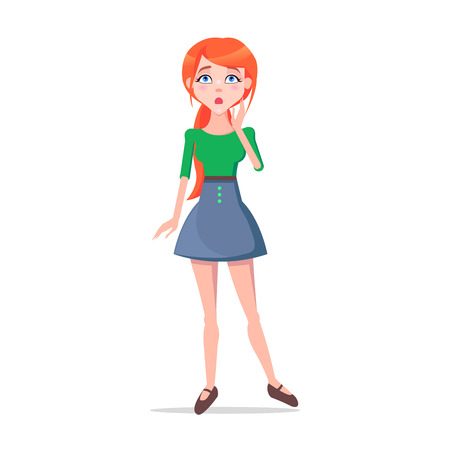 Worried Young Woman Cartoon Flat Vector Character 向量圖像
