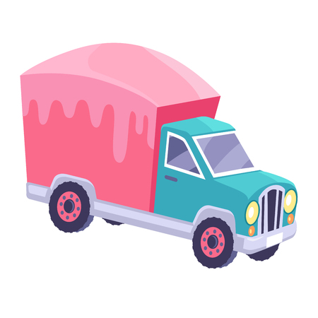 Cargo Truck with Glazed Container Cartoon Vector