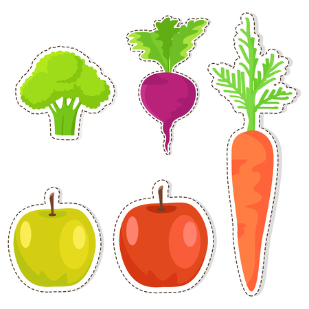 Ripe Fruits and Vegetables Vector Stickers Set Ilustração