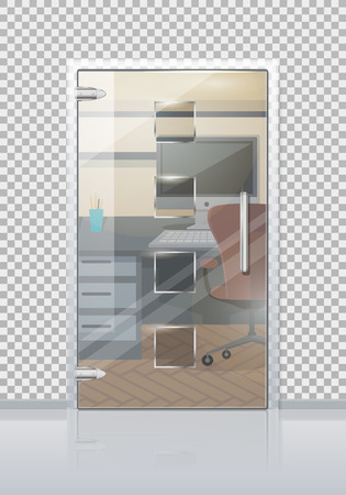 Office workplace through sliding glass door view flat vector. Entrance to the cabinet with table, computer and chair. Modern office interior with transparent wall illustration for business concepts Ilustrace