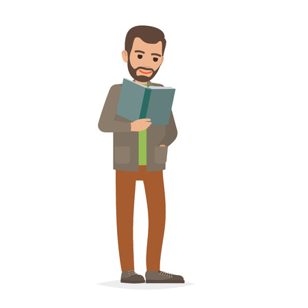 Student Standing and Reading Textbook Flat Vector 일러스트