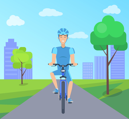 Pretty Cyclist in Blue Suit Vector Illustation