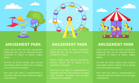 Amusement Park Set of Posters with Ferris Wheel Illustration