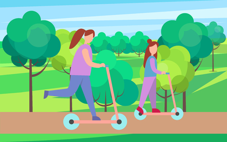 Mother and Child on Scooters in Park Illustration Illustration