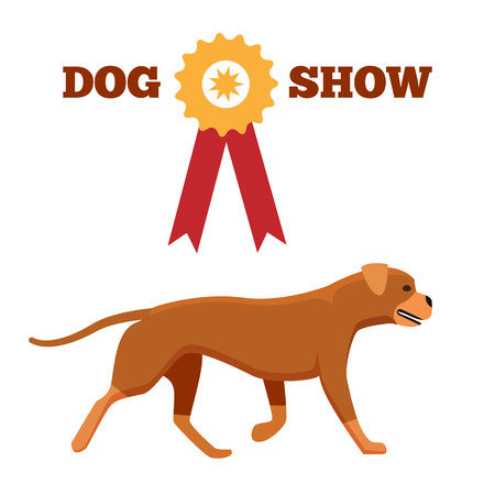 Dog show award with ribbon and canine animal design advertisement poster vector illustration isolated on white background, noble purebred puppy Ilustração