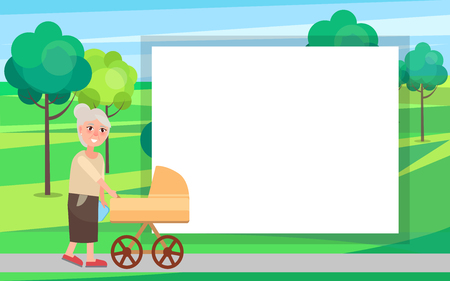 Grandmother walking with newborn toddler in pram in urban city park vector illustration with place for text in frame. Two generations grandma and infant