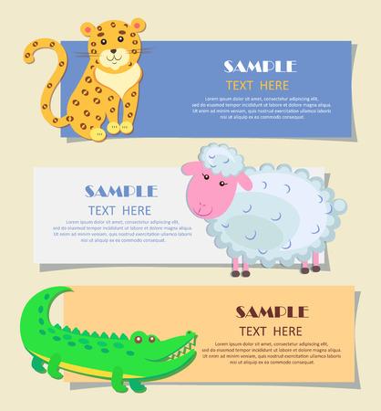 Three Horizontal Cards with Animals Teaching Image