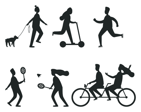 Set of Black Silhouettes of People Having Fun Stock Photo
