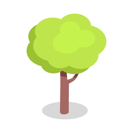 Green Tree with Bushy Crown and Brown Trunk Vector