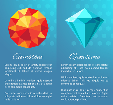 Gemstones Set with Text Sample Vector Illustration 矢量图像
