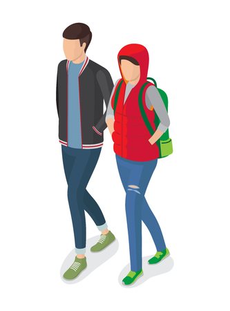 Woman and Man Students in Modern Apparels Vector