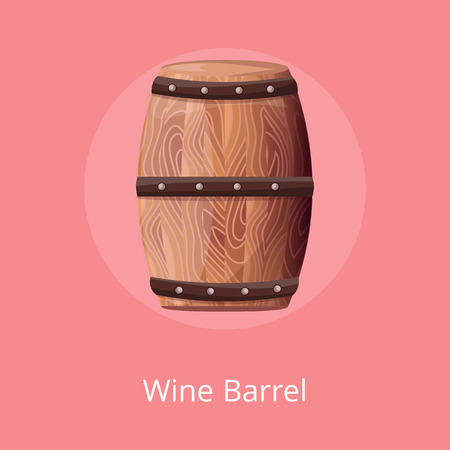 Wooden Barrel with Wine Vector on White Container