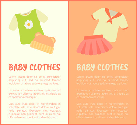 Baby Clothes Framed Banners, Vector Illustration