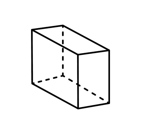 Cuboid Black Geometry Shape Projection Dashed Line
