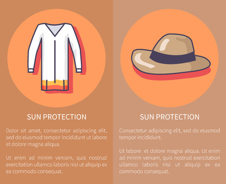 Sun Protection Set of Posters with Inscriptions