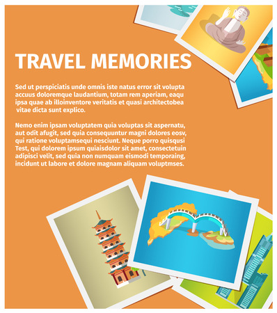 Travel Memories Flat Vector Web Banner 일러스트