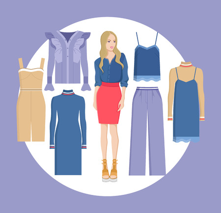 Woman and Choice of Clothes Vector Illustration