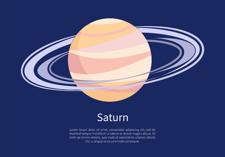 Saturno con un enorme anillo alrededor en un cartel informativo