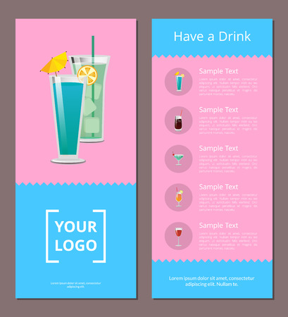 Have Drink Poster with Place for Logo, Mojito Mint Иллюстрация