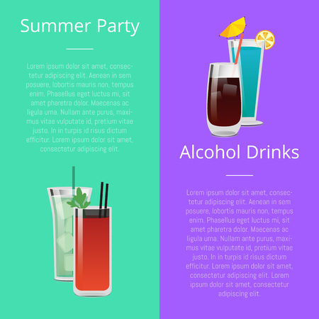 Summer Party Alcohol Drink Poster with Bloody Mary 版權商用圖片 - 102733763