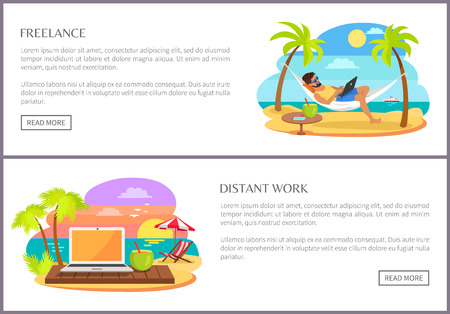 Freelance and Distant Work Web Vector Illustration Ilustrace