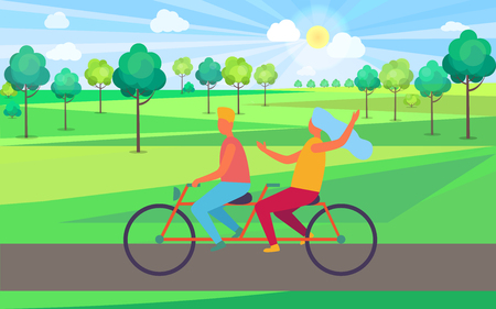 Boy and Girl Riding Tandem Bicycle Illustration Illustration