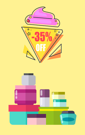 35 Off for Creams and Lotions Promotional Poster Illustration