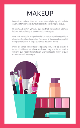 Makeup Tools and Decorative Cosmetics Promo Poster Çizim