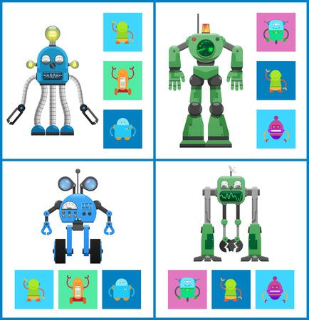 Robots with Light Indicators and Detectors Panel