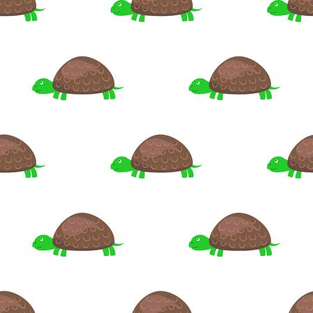Cartoon Turtle Seamless Pattern on White Vector Illustration