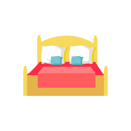 Bed with Red Blanket, Pillows Vector Illustration