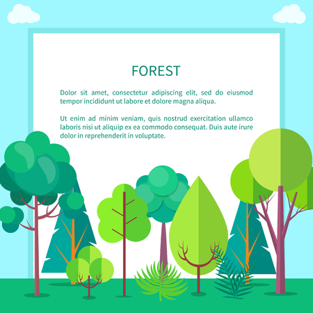 Forest Vector Web Banner with Trees and Bushes