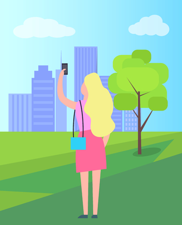 Woman Taking Selfie in City Park Illustration