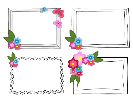 Black and White Photo Frames with Colorful Flowers Illustration