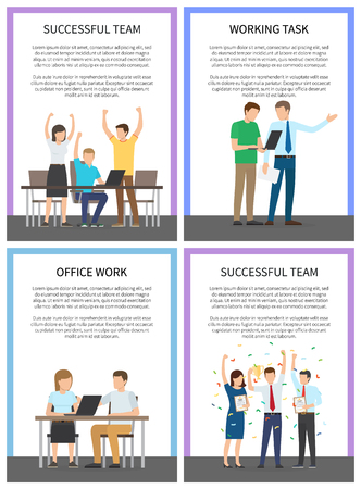 Successful Team Posters Set Vector Illustration Фото со стока - 102733890