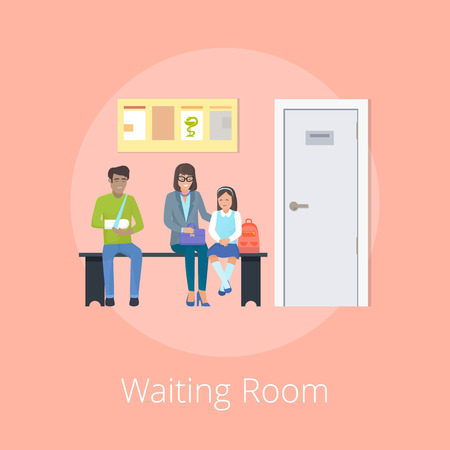 Waiting Room Medical Clinic Vector Illustration
