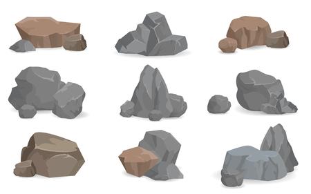 Set stenen en rotsen voor game-design, edelstenen instellen Vector Illustratie