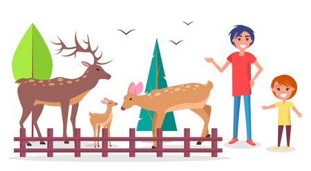 Child with Parent at Zoo near Deers Family Corral Illustration