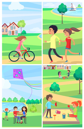 Children and adults spending free time actively in public park poster of four images. People running, riding bike, flying kite, playing in sandbox