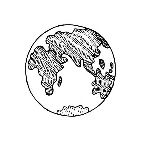 Hand Drawn Sketch Earth Planet Vector Illustration Illustration