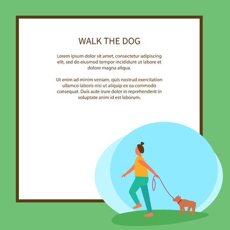 Walk Dog Poster with Text and Green Background