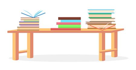 Three Heaps of Literature Lying on Table Closeup