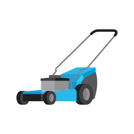 Blue lawnmower isolated flat vector icon Stock Illustratie