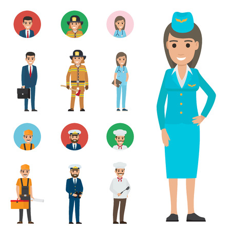 Professions People Cartoon Characters Icons Set Illustration