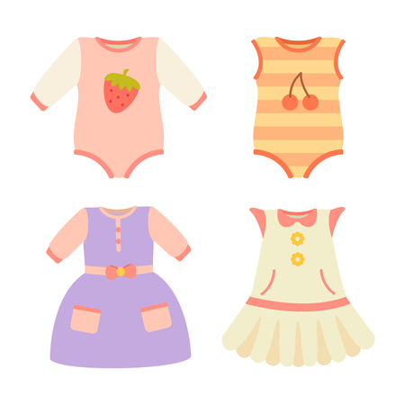 Baby Clothes Collection Dress Vector Illustration 일러스트