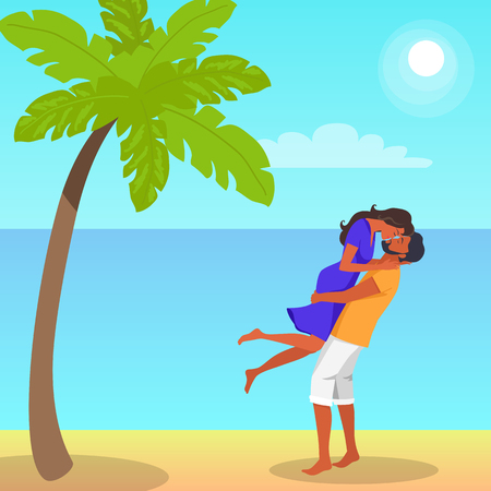 Man Lifts his Girlfriend and Kisses Illustration