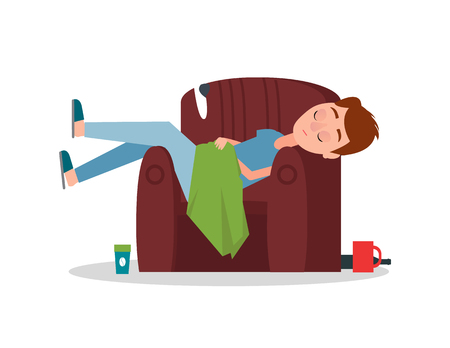 Careless Boy Sleeping in Armchair Scattered Things Illustration