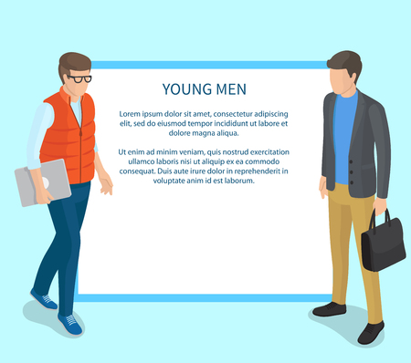 Young Men Wearing Casual Clothing Illustration Reklamní fotografie - 102734501